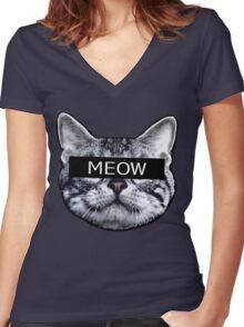 Censor Cat Women's Fitted V-Neck T-Shirt