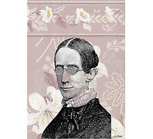 Geeky Steampunk Woman Glasses Pink Flowers Photographic Print