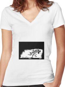 Vine Leaves Morphing Maggots Woodcut Women's Fitted V-Neck T-Shirt