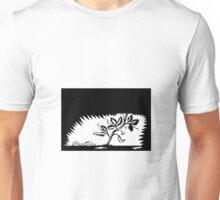 Vine Leaves Morphing Maggots Woodcut Unisex T-Shirt