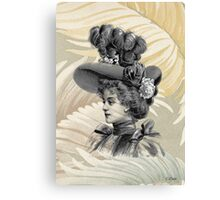Victorian Woman White Feathers Hat Canvas Print