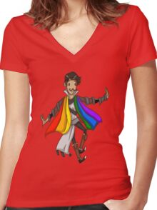 Mustachioed Magister Master Dorian Women's Fitted V-Neck T-Shirt