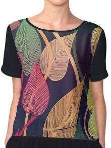 Colorful Vines Autumn Leaves Pattern Chiffon Top