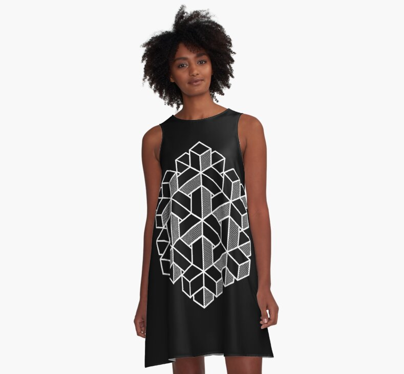 A-Line Dress Impossible Shapes: Hexagon by Jeff Merrick on Redbubble