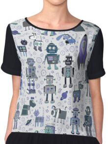 Robots in Space - blue and grey Chiffon Top