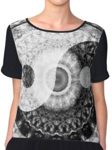 Ideal Balance Black And White Yin and Yang by Sharon Cummings Chiffon Top