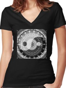 Ideal Balance Black And White Yin and Yang by Sharon Cummings Women's Fitted V-Neck T-Shirt