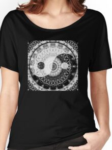 Ideal Balance Black And White Yin and Yang by Sharon Cummings Women's Relaxed Fit T-Shirt