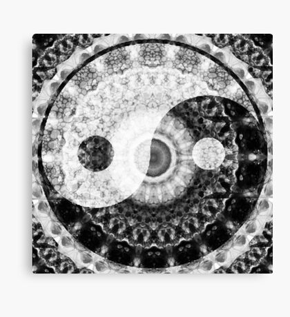 Ideal Balance Black And White Yin and Yang by Sharon Cummings Canvas Print