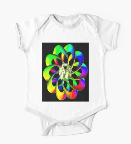 """MONKEY IN THE SPHERE"" Psychedelic Art Deco Print One Piece - Short Sleeve"