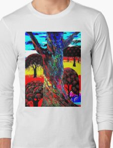 """""""TREE OF LIFE"""" Psychedelic Art Deco Print Long Sleeve T-Shirt"""