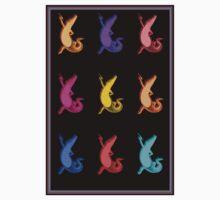"""DANCING CROCODILES"" Colorful Art Deco Print Baby Tee"