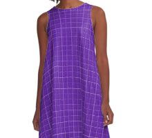 Simply Purple Grid Lines Skirt Duvet Cover Pillow A-Line Dress