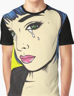 Blue Bangs Crying Comic Girl Graphic T-Shirt