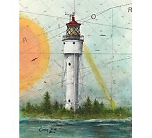 Devils Island Lighthouse WI Nautical Chart Map Cathy Peek Art Photographic Print