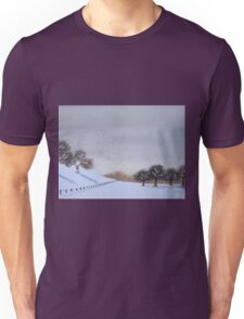 Rural snow scene landscape art for christmas  Unisex T-Shirt