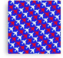 Patriotic Plane Pattern Canvas Print