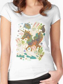 Three Rabbits and a Unicorn Women's Fitted Scoop T-Shirt