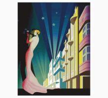 """SOUTH BEACH DANCERS"" Art Deco Print One Piece - Short Sleeve"