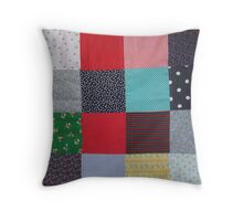 quirky vintage colorful fabric patchwork design Throw Pillow