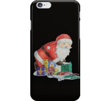 Cute santa and toys wrapping Christmas gifts iPhone Case/Skin