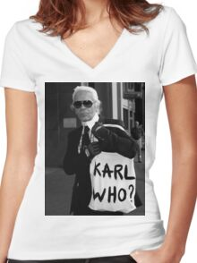 karl lagerfeld; karl who? Women's Fitted V-Neck T-Shirt