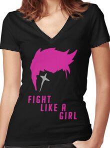 Zarya - Fight Like A Girl Women's Fitted V-Neck T-Shirt