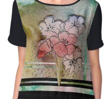 Watercolour Flowers Collage 7 Chiffon Top