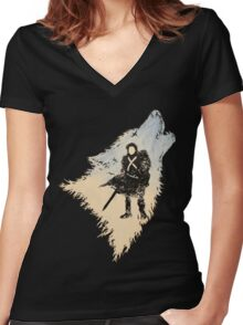Ghost Wolf Women's Fitted V-Neck T-Shirt