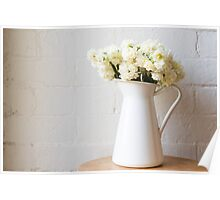 Erlicheer daffodils in white jug Poster