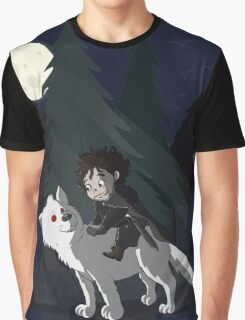 The White Wolf - Cute Style (No Blood) Graphic T-Shirt