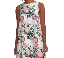 Pink Roses Illustration Blue Green Leaves Peach Stripes A-Line Dress