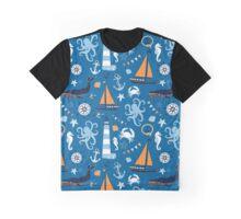 Bright Blue and Orange Nautical Ocean Graphic T-Shirt