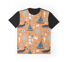 Orange and Blue Nautical Ocean Graphic T-Shirt