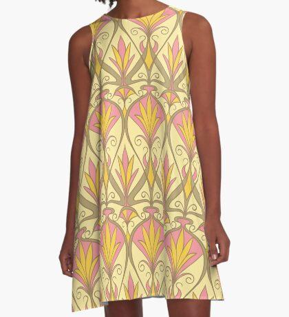Art Nouveau Floral Pattern A-Line Dress