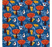 Whimsical Autumn Trees, Geese, and Cats Photographic Print
