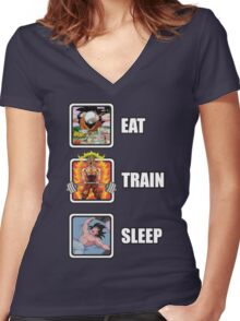 Eat, Train, Sleep (Deadlift) Women's Fitted V-Neck T-Shirt