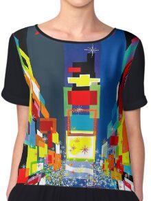"""TWA FLY TO NEW YORK"" Art Deco Print Chiffon Top"