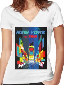 """TWA FLY TO NEW YORK"" Art Deco Print Women's Fitted V-Neck T-Shirt"