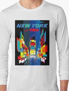 """TWA FLY TO NEW YORK"" Art Deco Print Long Sleeve T-Shirt"