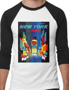 """TWA FLY TO NEW YORK"" Art Deco Print Men's Baseball ¾ T-Shirt"