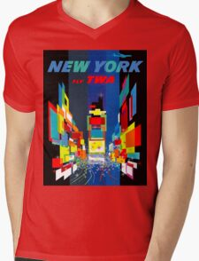"""TWA FLY TO NEW YORK"" Art Deco Print Mens V-Neck T-Shirt"