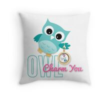 Owl Charm You Teal Owl Throw Pillow