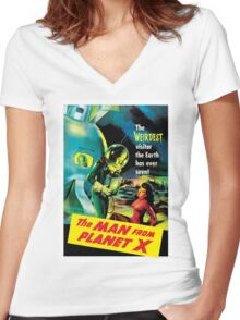 The Man From Planet X Women's Fitted V-Neck T-Shirt