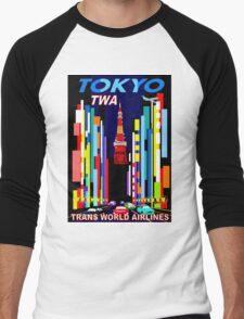 """TWA"" Fly to Tokyo Travel Print Men's Baseball ¾ T-Shirt"