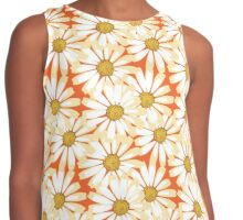 Pretty White Daisies Floral Pattern Contrast Tank