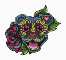 Smiling Pit Bull in Blue - Day of the Dead Happy Pitbull - Sugar Skull Dog Kids Tee