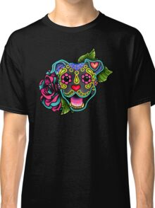 Smiling Pit Bull in Blue - Day of the Dead Happy Pitbull - Sugar Skull Dog Classic T-Shirt