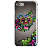 Smiling Pit Bull in Blue - Day of the Dead Happy Pitbull - Sugar Skull Dog iPhone Case/Skin