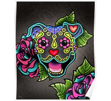 Smiling Pit Bull in Blue - Day of the Dead Happy Pitbull - Sugar Skull Dog Poster